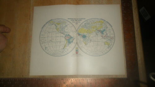 DODD MEAD 1902 ORIGINAL MAP - WORLD DISTRIBUTION OF RAINFALL 1899 MEAN ANNUAL