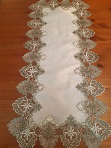 Rectangle 40*90cm 'Sage green Lace Trim' Premium Polyester Table-Runner