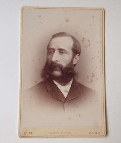 Cabinet Card Antique Photo Beebe Denver CO Scraggly Man Colorado Vintage