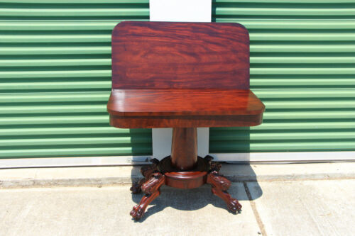 Fine Classical Federal Empire Flame Mahogany Card Table Acanthus Carved Paw Feet