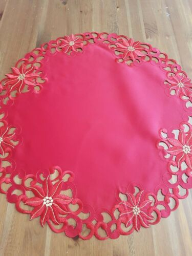 """(Set Of 3)* 70cm Round """"RED"""" Polyester Small Tablecloths"""