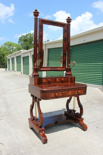 Spectacular Classical Empire Period Flame Mahogany Vanity Dressing Table Ca1820
