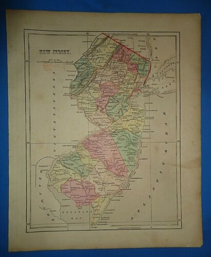 Antique 1856 Hand Colored NEW JERSEY MAP Authentic Vintage Old Atlas Map