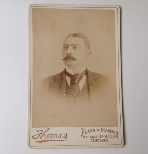 Cabinet Card Antique Photo Thomas Chicago IL Man Vintage Photograph