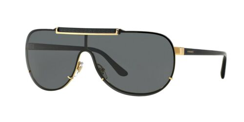VERSACE 2140 100287 GOLD ORO DARK GREY LENSES OCCHIALE SUNGLASSES SOLE