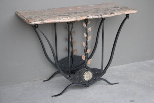 Art Deco hand wrought iron bronze console table French antique marble 1930 hall