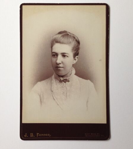 Cabinet Card Antique Photo Susquehanna PA J B Fenner Young Woman with a Bun