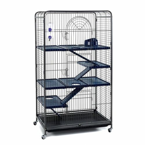Large Black Tall Rat Ferret Chinchilla Cage On Wheels With Accessories - 140cm