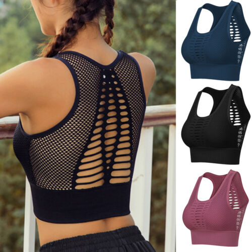 Womens Seamless Yoga Bra Top Padded Sports Fitness Racerback Workout Tank Tops A