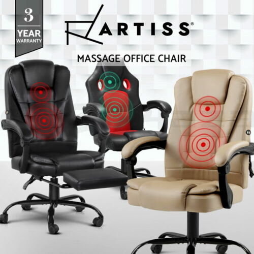 Artiss Massage Office Chair PU Leather Recliner Computer Gaming Chairs Seating <br/> 150° Back Recline / USB Connection / Footrest Option