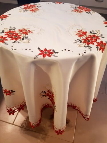 XMAS 150cm(4 seater)  Round 100% Heavy-Duty Embroidered Polyester Tablecloth