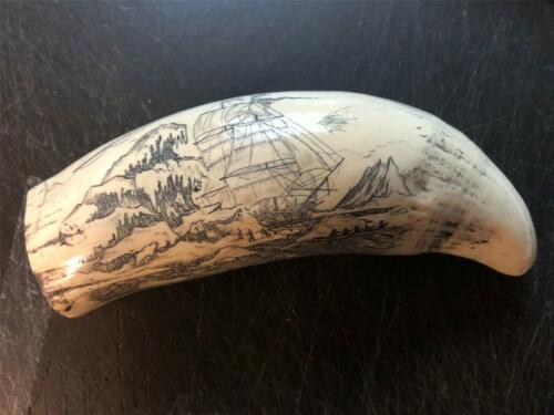 """""""STEAMER THRASHER""""  historic Sperm whale tooth scrimshaw reproduction"""