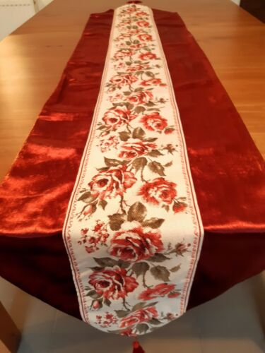 (Set Of 2) Rectangle 40*180cm  Burgundy and Gold Rose Table-Runners