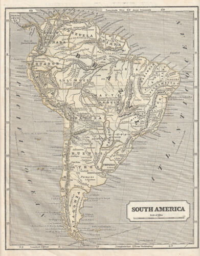 Sidney E Morse, antique 1849 Harper's System of Geography map:SOUTH AMERICA
