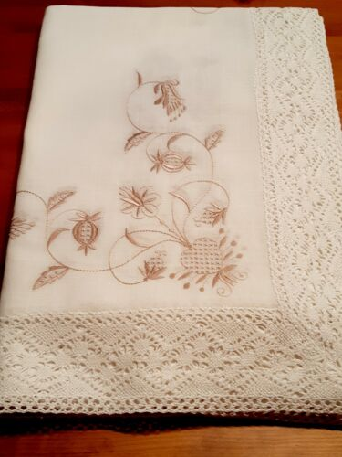 Rectangle 170*300cm X/Wide Linen/Look Oatmeal PremiumPolyester Lace T/Cloth