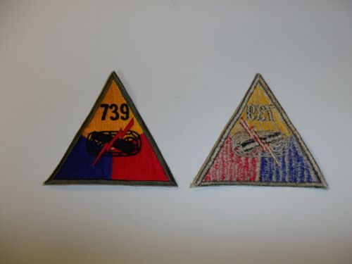 b2854 WW 2 US Army Armored Tank Battalion Triangle 739 patch Division Corps R24A