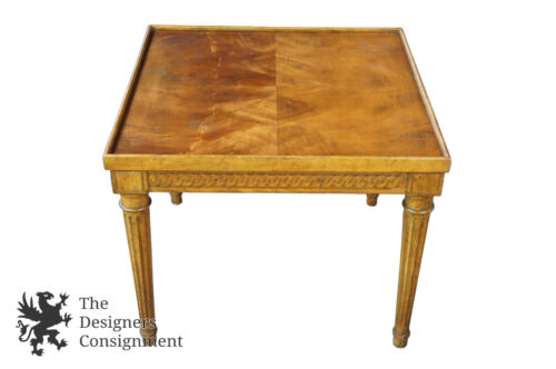 Baker Furniture French Neoclassical Crotch Walnut Side Accent Tea Table MCM