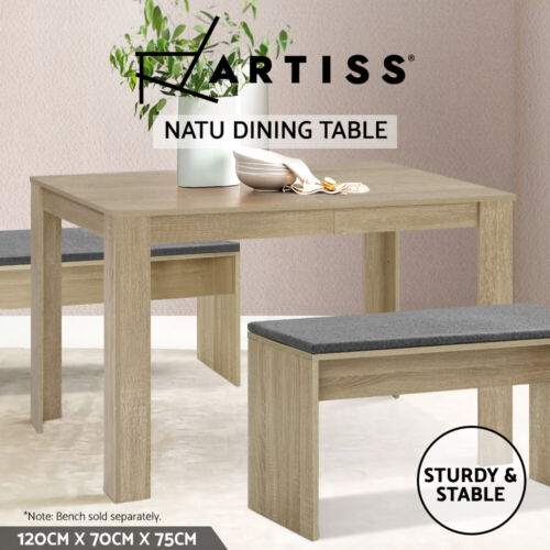 Artiss Wooden Dining Table 120cm 4 Seater Kitchen Rectangular Modern Oak <br/> ✔Top Quality✔Sturdy & Stable✔Matching Bench Available✔
