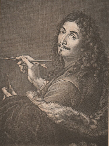 original engraving, self-portrait of artist SALVATOR ROSA (1615-1673, Italian)