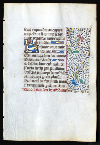 WRITTEN IN MEDIEVAL FRENCH, ILLUMINATED  BOOK OF HOURS MANUSCRIPT LEAF c.1450