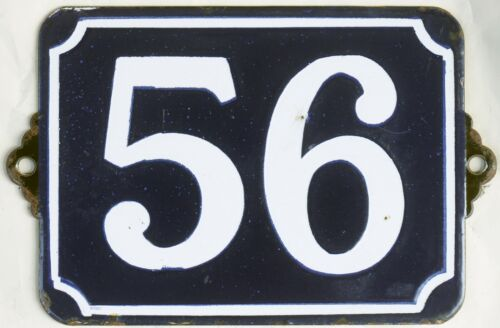 Large old blue French house number 56 door gate plate plaque enamel plate sign