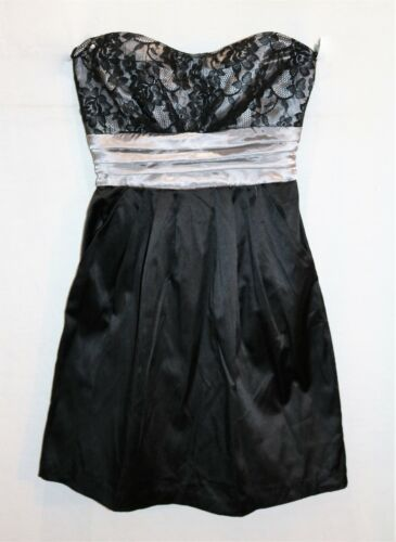 Free Fusion Brand Black Silver Lace Bust Strapless Prom Dress Size 8 BNWT #SX108