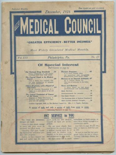 Dec. 1916 Philadelphia Medical Council Journal Medicine Doctors Trade Magazine