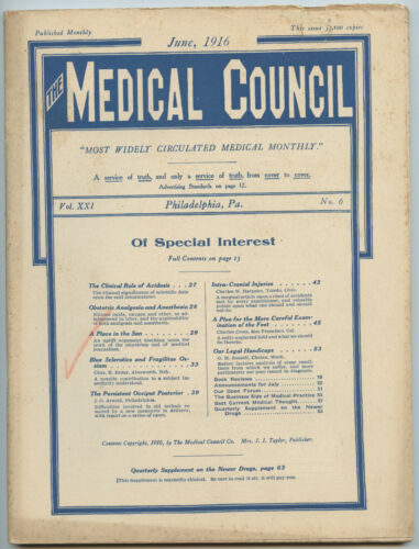 June 1916 Philadelphia Medical Council Journal Medicine Doctors Trade Magazine