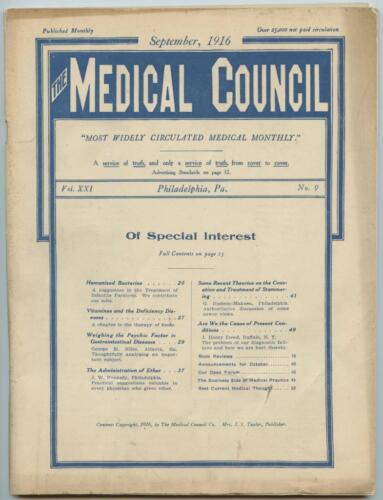 Sept. 1916 Philadelphia Medical Council Journal Medicine Doctors Trade Magazine