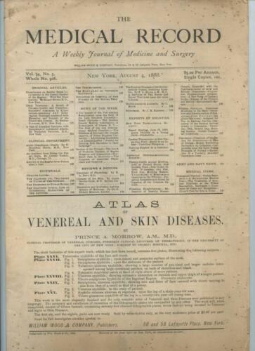 8/4 1888 New York Medical Record Journal Medicine Surgery Doctors Trade Magazine