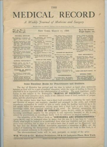 3/17 1888 New York Medical Record Journal Medicine Surgery Doctor Trade Magazine