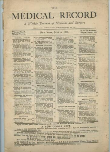 6/9 1888 New York Medical Record Journal Medicine Surgery Doctor Trade Magazine