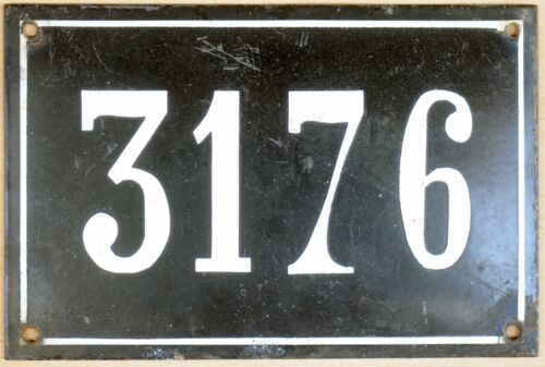 Large old black French house number 3176 door gate wall plate enamel metal sign