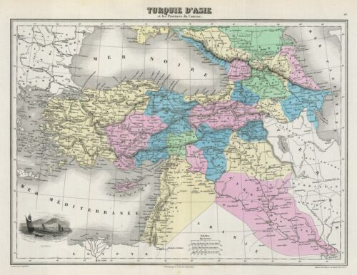 1878 Migeon Map of Turkey in Asia
