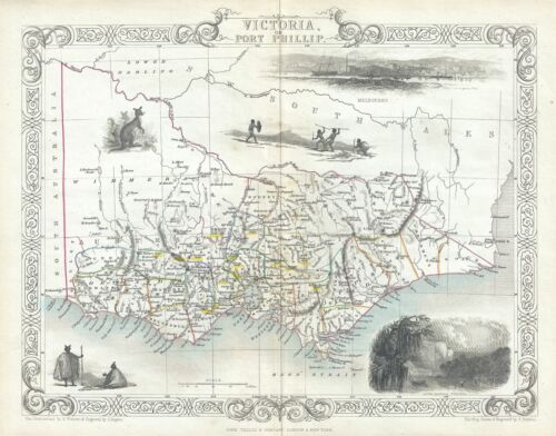 1851 Tallis and Rapkin Map of Victoria, Australia (with Gold Deposits)