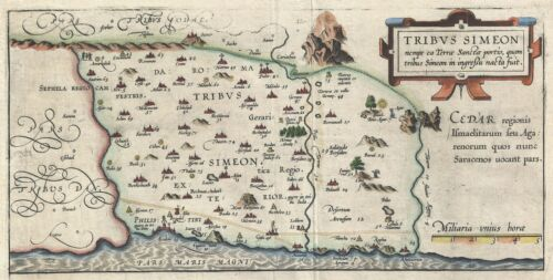 1590 Adrichem Map of the Tribe of Simeon, Israel (South of Canaan)