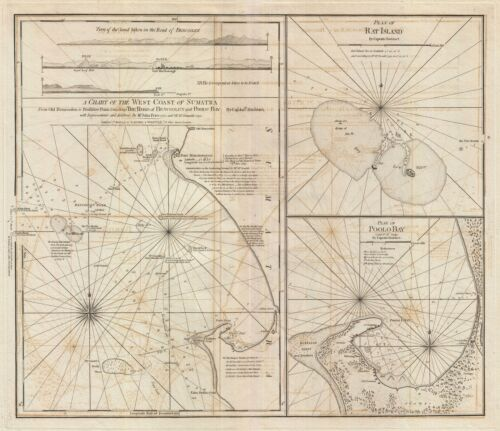 1797 Laurie and Whittle Nautical Map of the West Coast of Sumatra, Indonesia