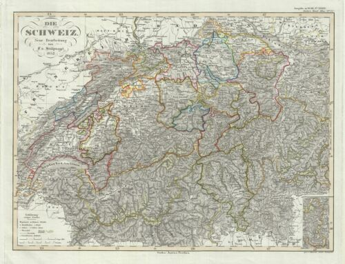 1852 Perthes Map of Switzerland