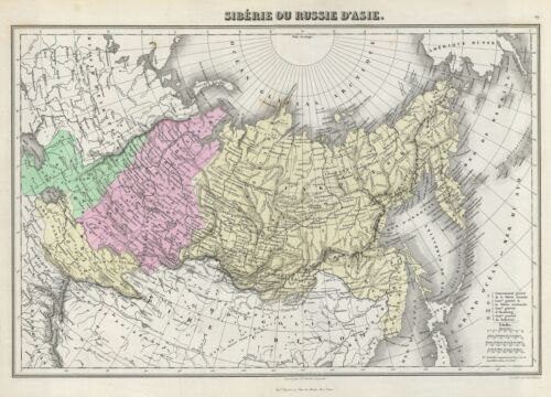 1878 Migeon Map of Russia in Asia