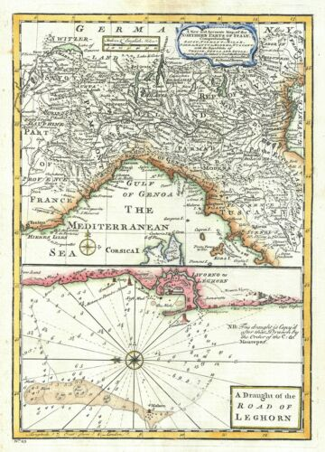 1747 Bowen Map of Northern Italy with a Nautical Chart of Livorno