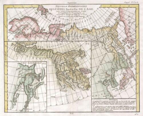 1772 Vaugondy - Diderot Map of Asia and the Northeast Passage