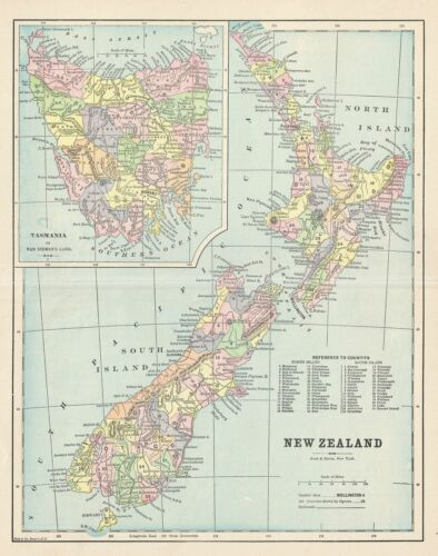 1895 Hunt and Eaton Map of New Zealand