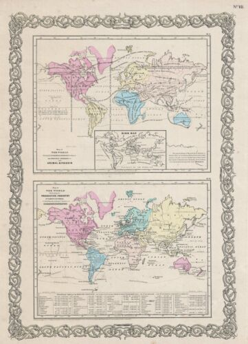 1857 Colton Map of World Industry and Animals
