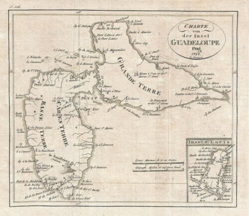 1822 Franz Pluth Map of Guadeloupe