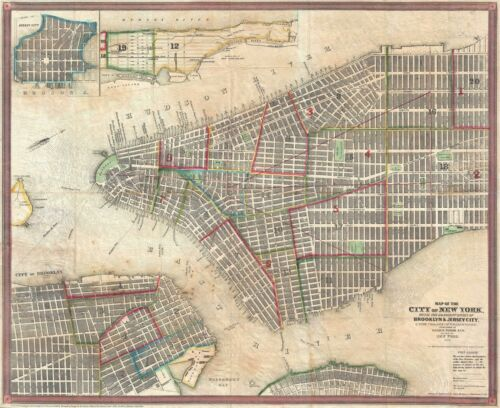 1853 Ensign and Thayer City Map or Plan of New York City