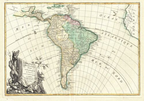 1762 Janvier Map of South America