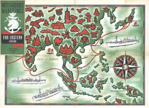 1954 Jacques Branger Pictorial Map of Asia (Messageries Maritimes)