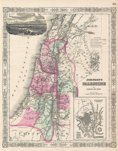 1863 Johnson Map of Palestine, Israel or the Holy Land
