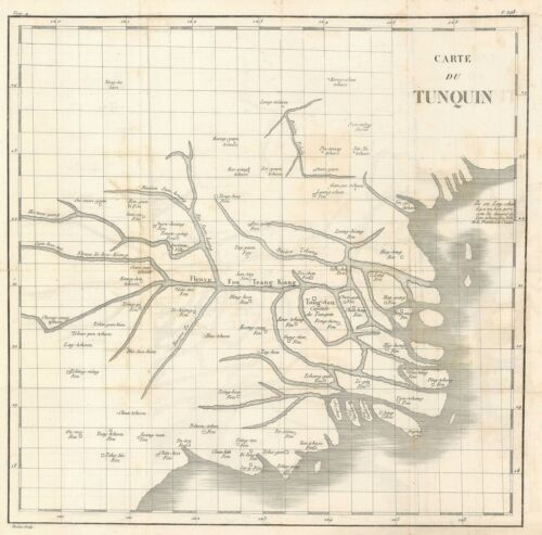 1810 Porlier Map of the Red River System and the Gulf of Tonkin, Vietnam
