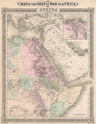 1884 Colton Map of Northeast Africa During the Mahdist War